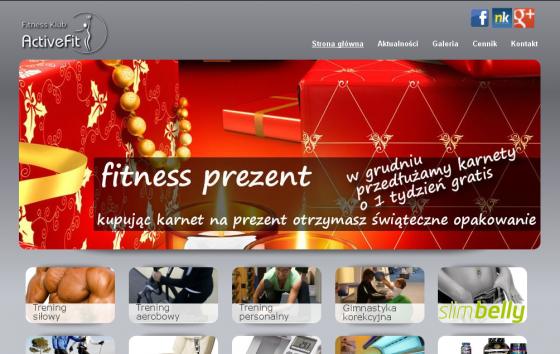 Przykład strony internetowej - Siłownia i fitness klub Activefit
