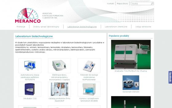 Meranco - Aparatura kontrolno pomiarowa i laboratoryjna